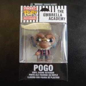 Umbrella Academy Pogo keychain Funko Pop! On Display at Pages N Pixels Comic Book Shop, Halifax Uk