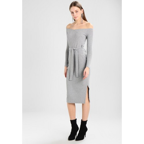River Island Grey Off Shoulder Bodycon Dress