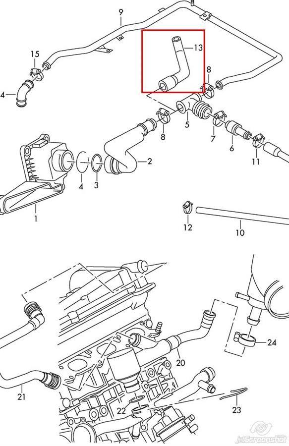 Ölschlauch Ventilation Hose Audi A4 A6 VW Passat B5 SKODA