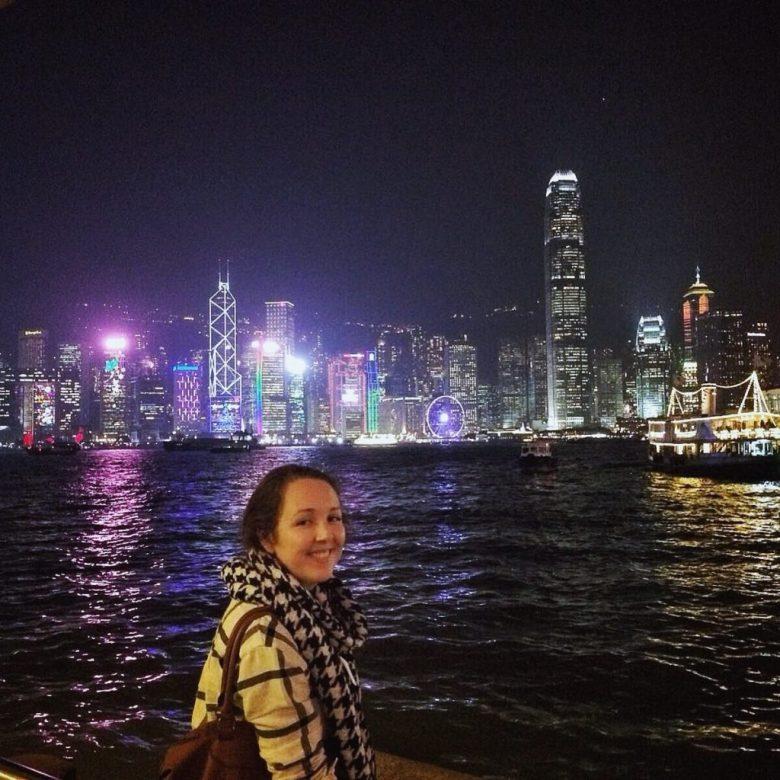 Hong Kong skyline lit up at night