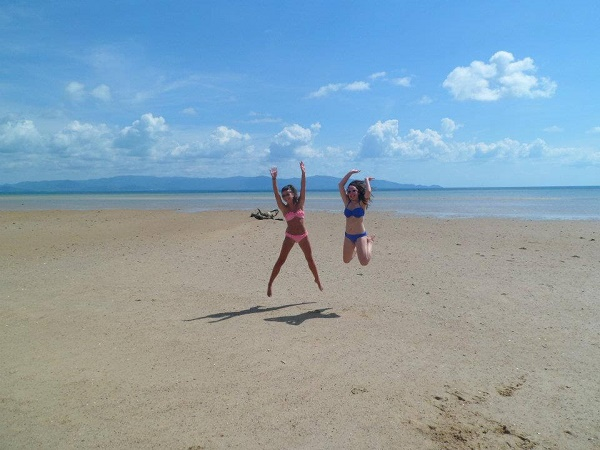 Jumping photo on the beach in Koh Phangan, Thailand