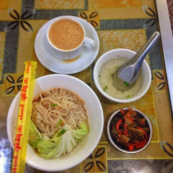 Burmese teashop meal in Yangon, Myanmar