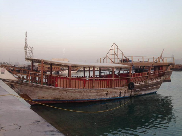 Dhow boats on the water in Doha Qatar