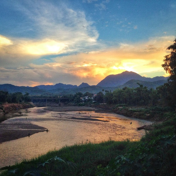 Mekong River at sunset in Luang Prabang, Laos