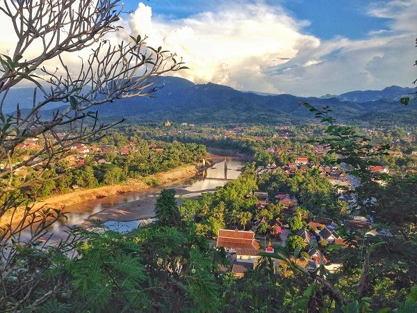 Sunset view from Phu Si Hill of Luang Prabang, Laos