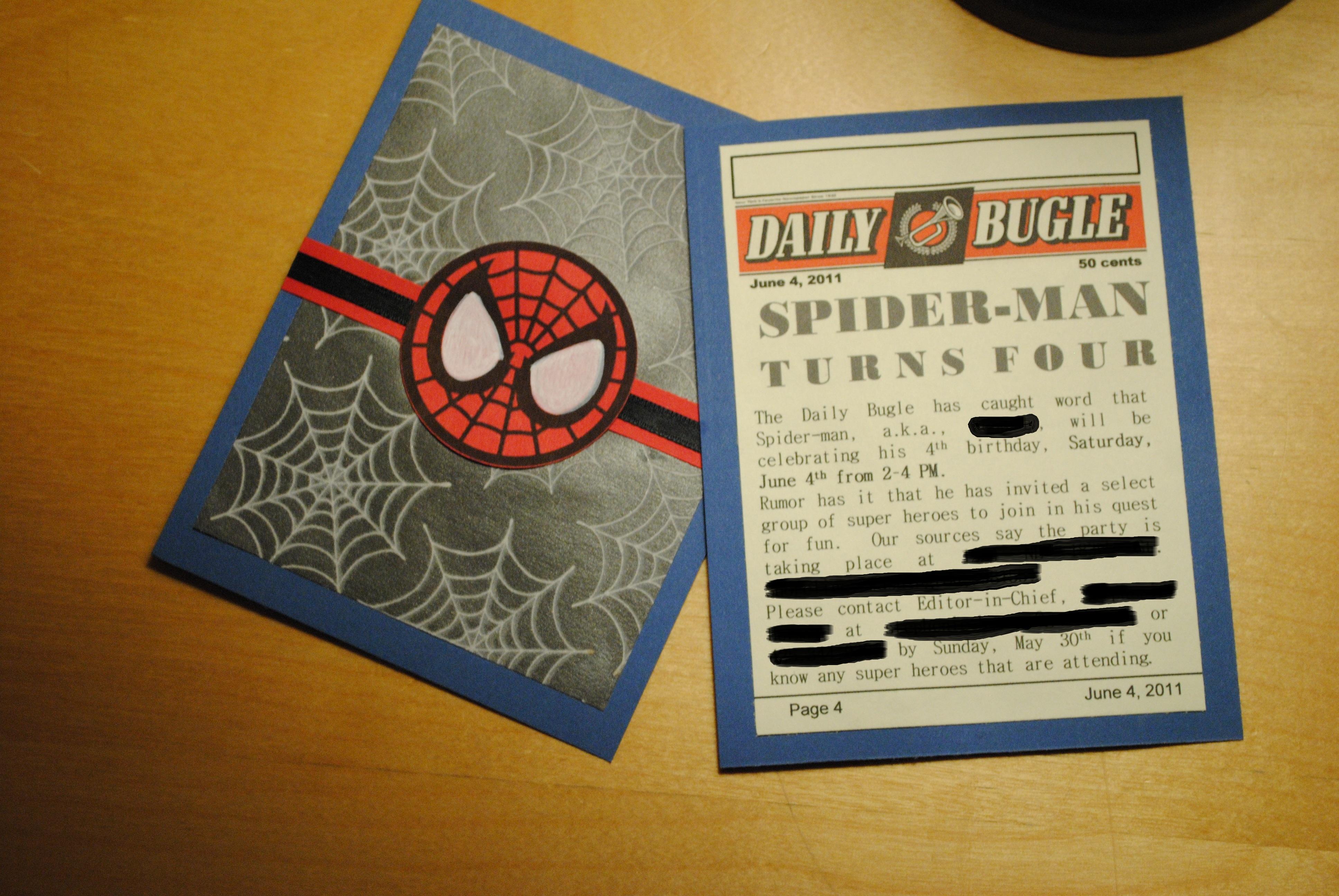 own spider man birthday invitations
