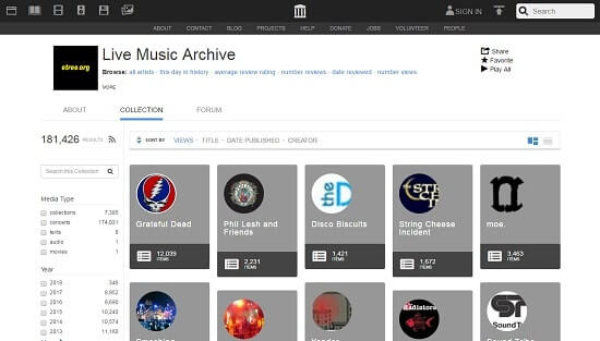 Live Music Archive página de música gratis