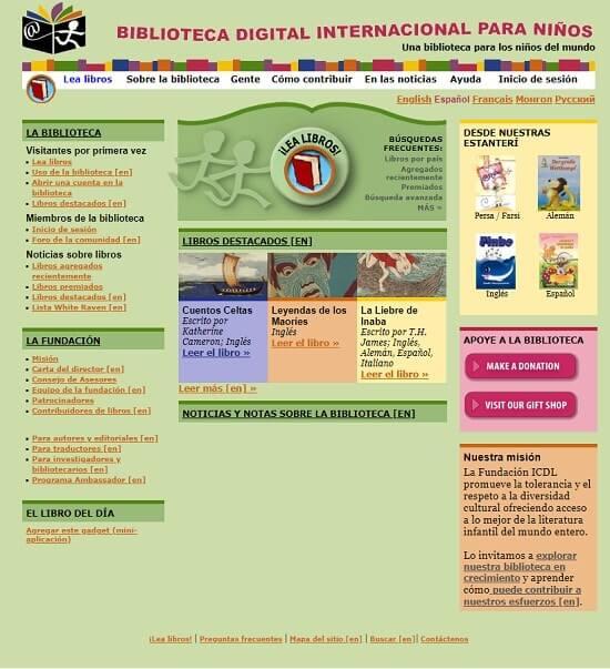 Bibloteca Digital Internacional para Niños biblioteca online gratis para leer