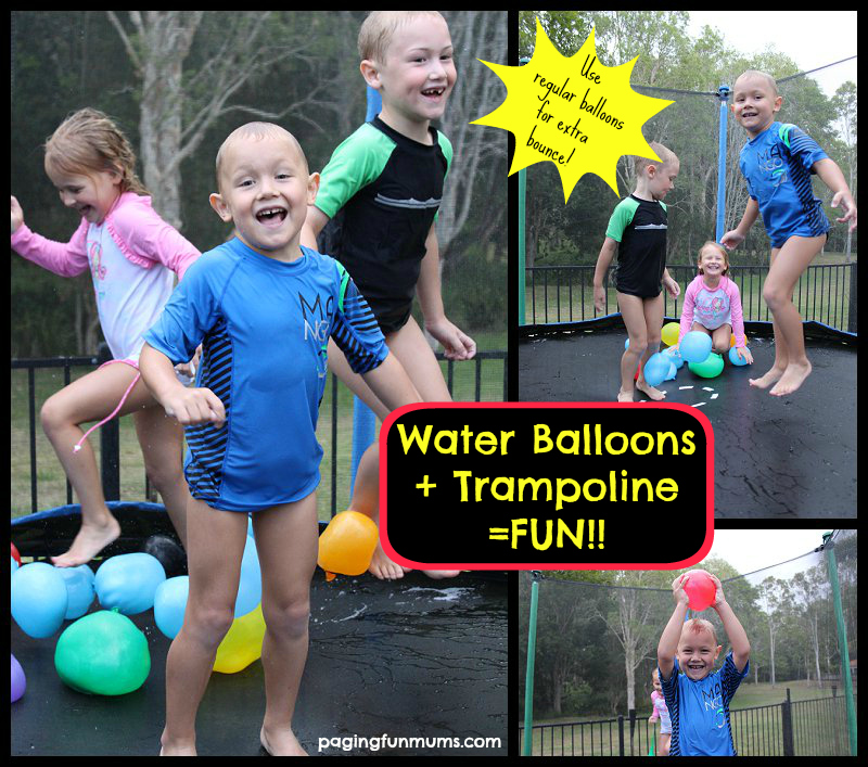 Water Balloons and Trampoline