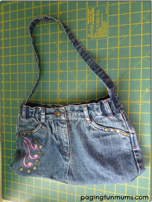 Handbag from recycled jeans