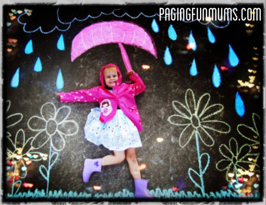 Singing in the Rain Chalk Art