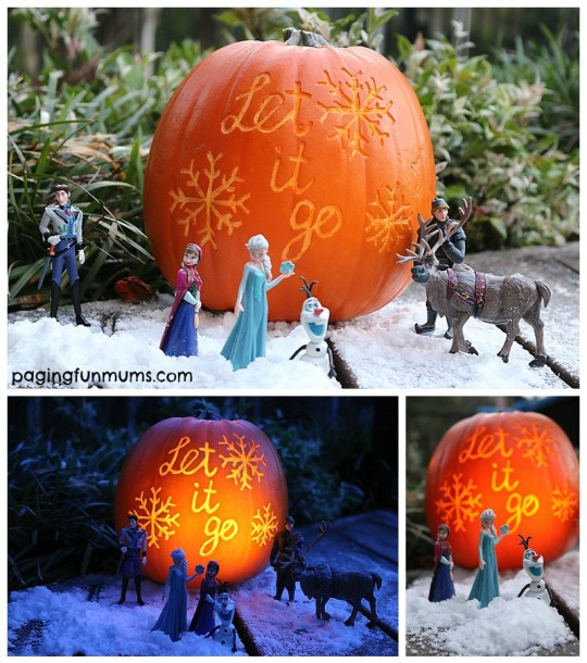 Frozen Halloween Pumpkin Carving Idea! Let it go, let it go...