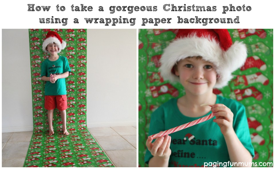 How to take a gorgeous Christmas Photo using a wrapping paper background