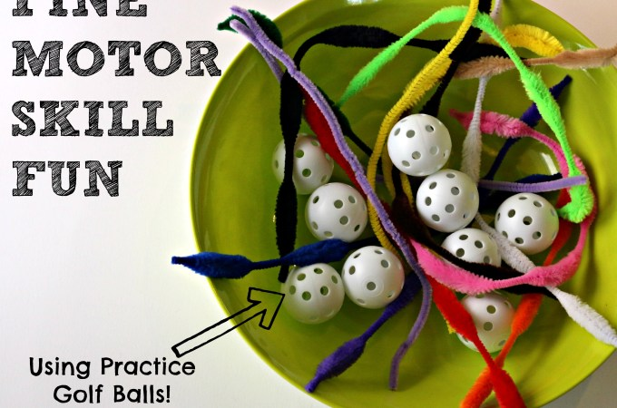 Fine Motor Skill Activity – using practice golf balls!