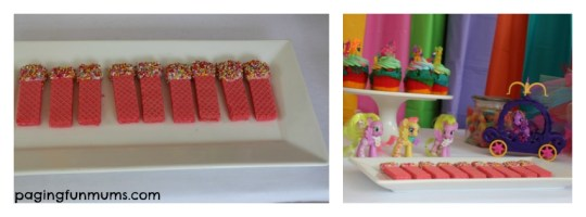 my little pony party rainbow wafers