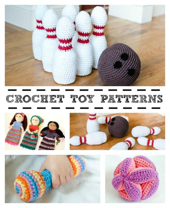 Crochet Toy Patterns! I love the look of that bowling set - at least it wouldn't make too much noise!!