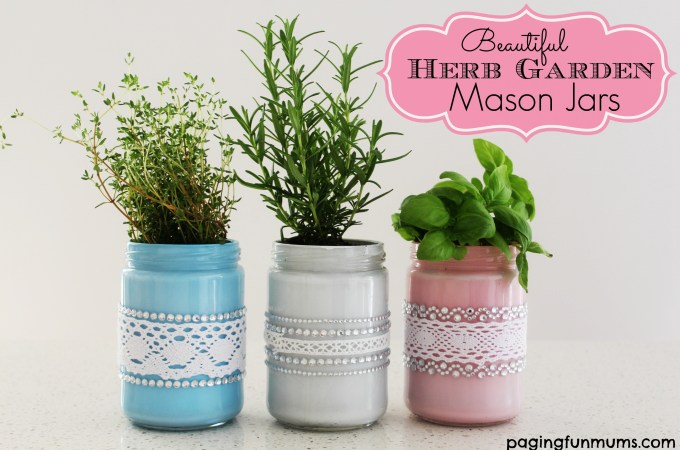 Beautiful Herb Garden Mason Jars