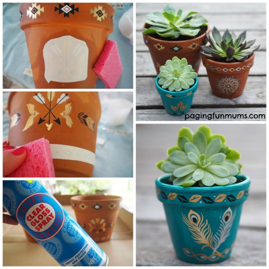 Using Temporary Tattoos to decorate teracotta pots!