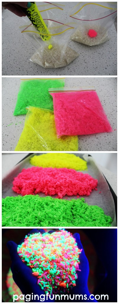 DIY Glowing Rainbow Rice