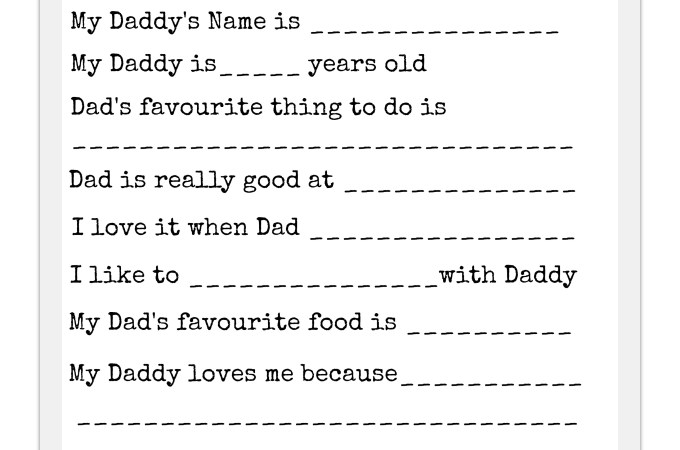 Father's Day Questionnaire Gift Idea