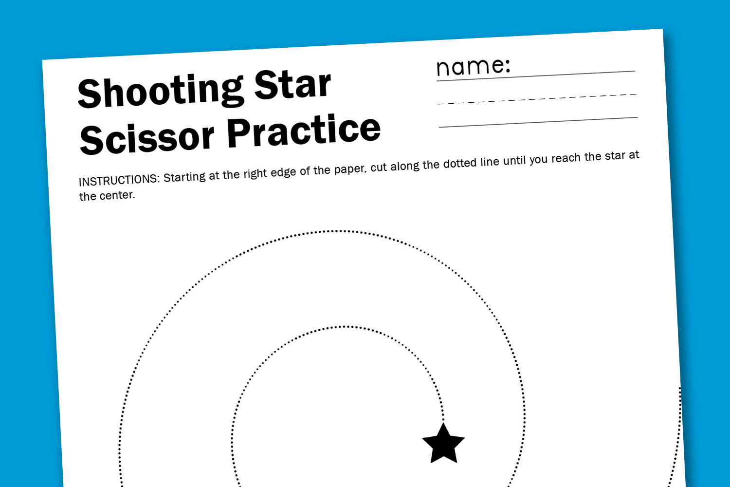 Shooting Star Scissor Worksheet