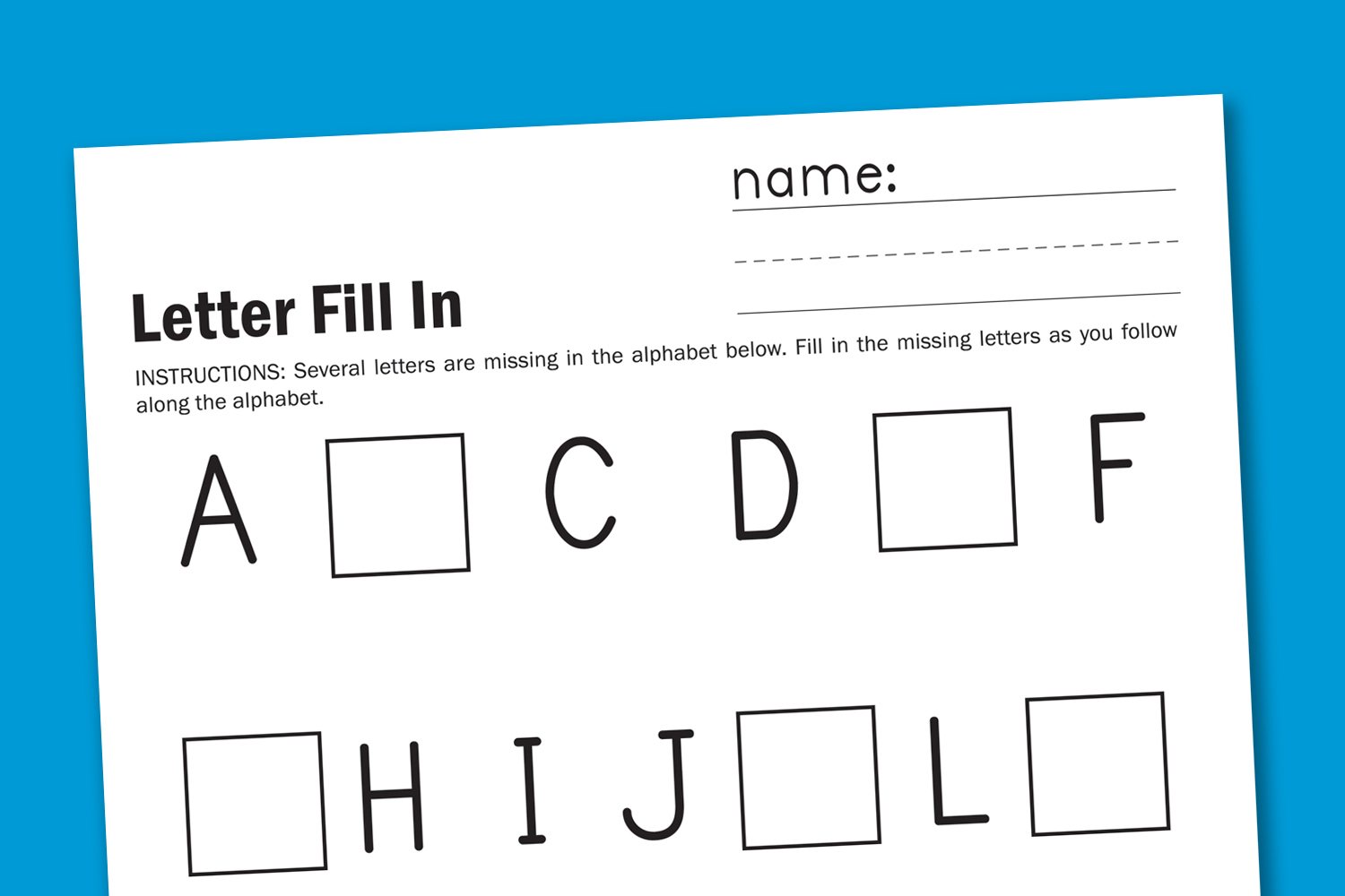 Fill In The Blank Alphabet Worksheet