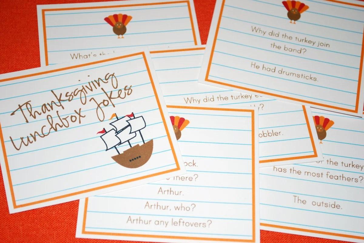 Printable Thanksgiving Lunchbox Jokes