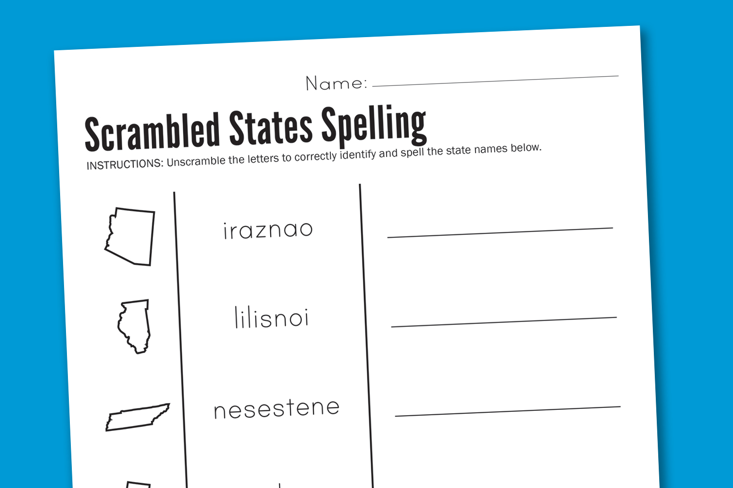 Worksheet Wednesday Scrambled States Spelling