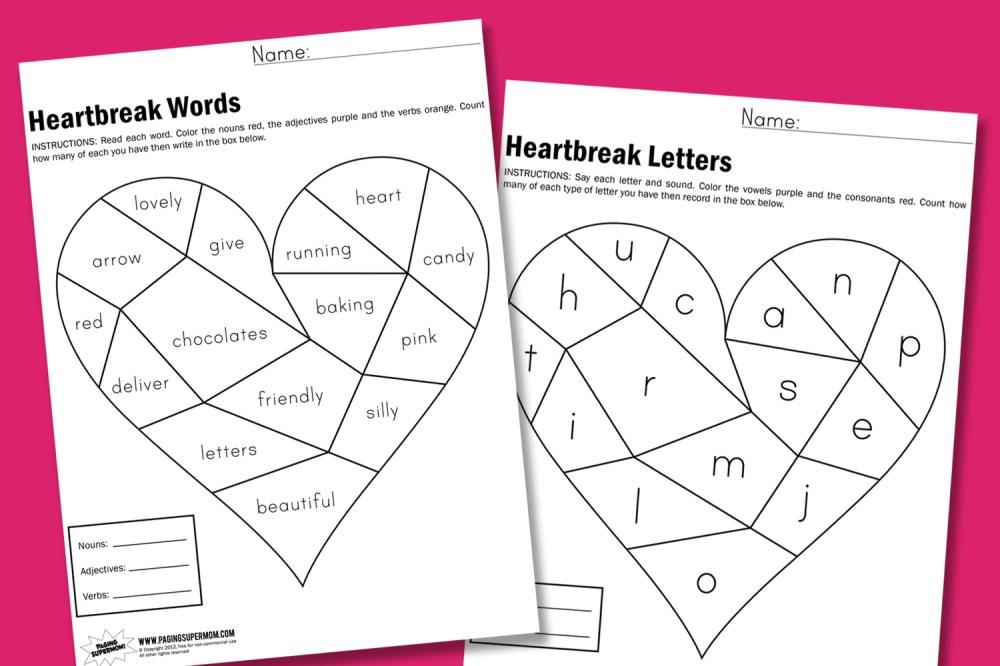 medium resolution of Heartbreak Worksheets - Paging Supermom