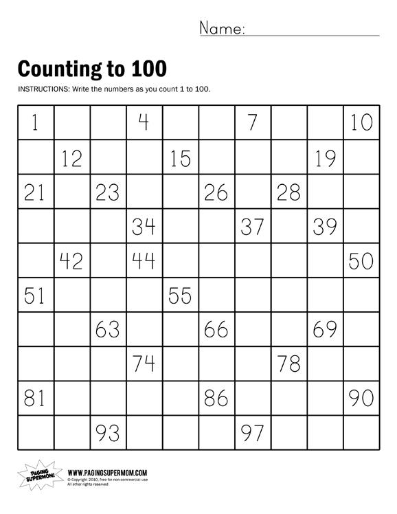 Kindergarten Counting Worksheets To 100