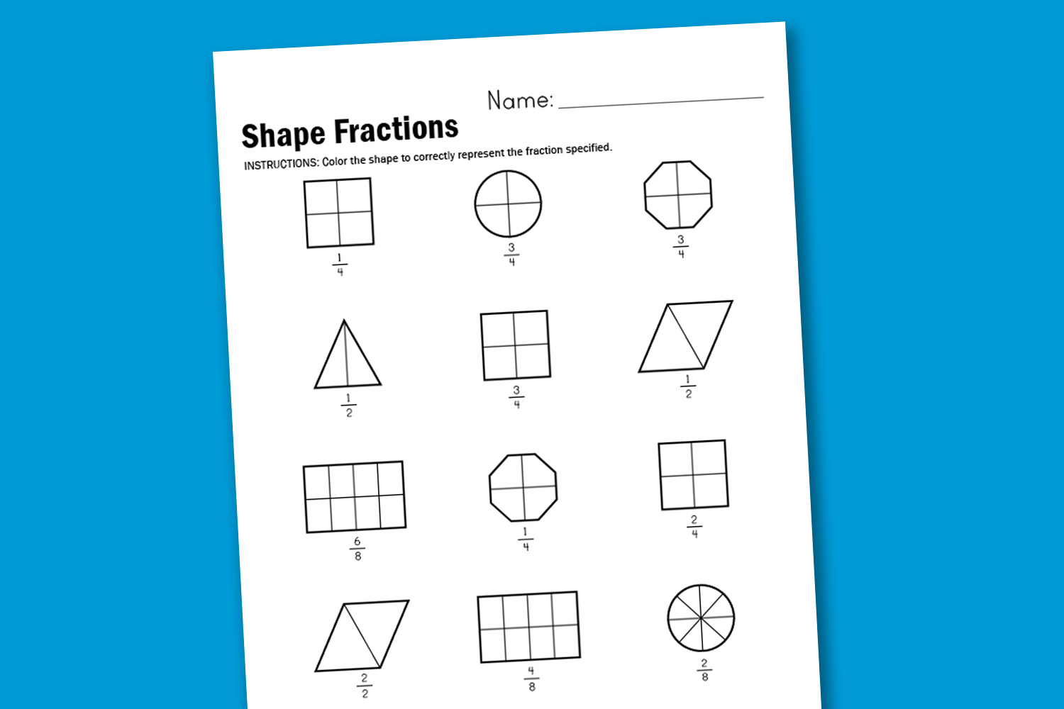 Worksheet Wednesday Shape Fractions