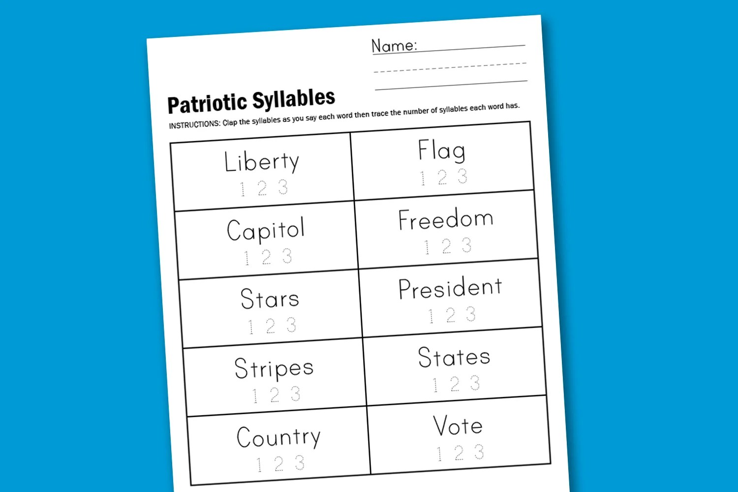 Worksheet Wednesday Patriotic Syllables