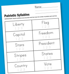 Worksheet Wednesday: Patriotic Syllables - Paging Supermom [ 1000 x 1500 Pixel ]