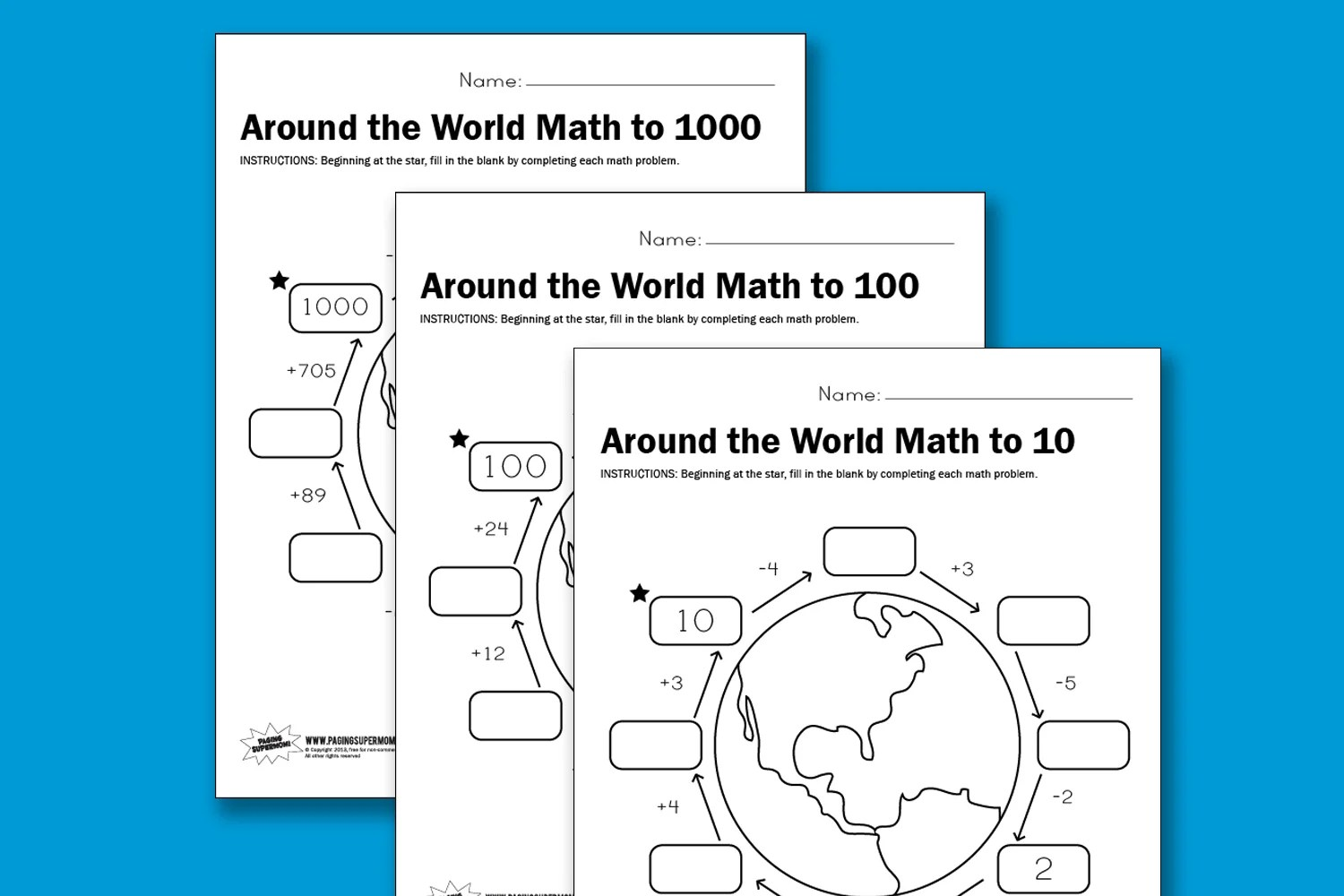 Worksheet Wednesday Around The World Math
