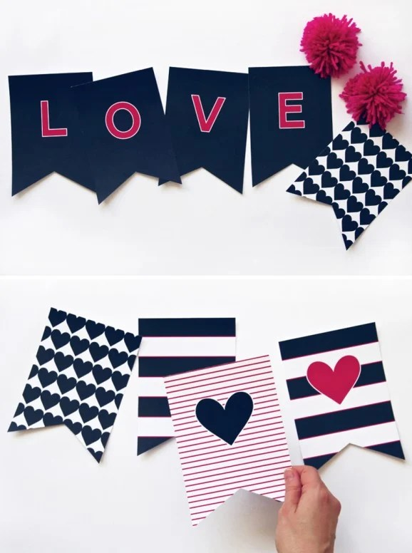 Preppy Navy Valentines LOVE Banner Paging Supermom