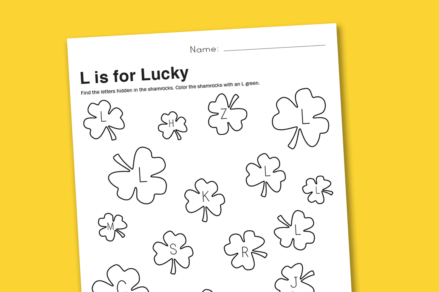 Worksheet Wednesday L Is For Lucky