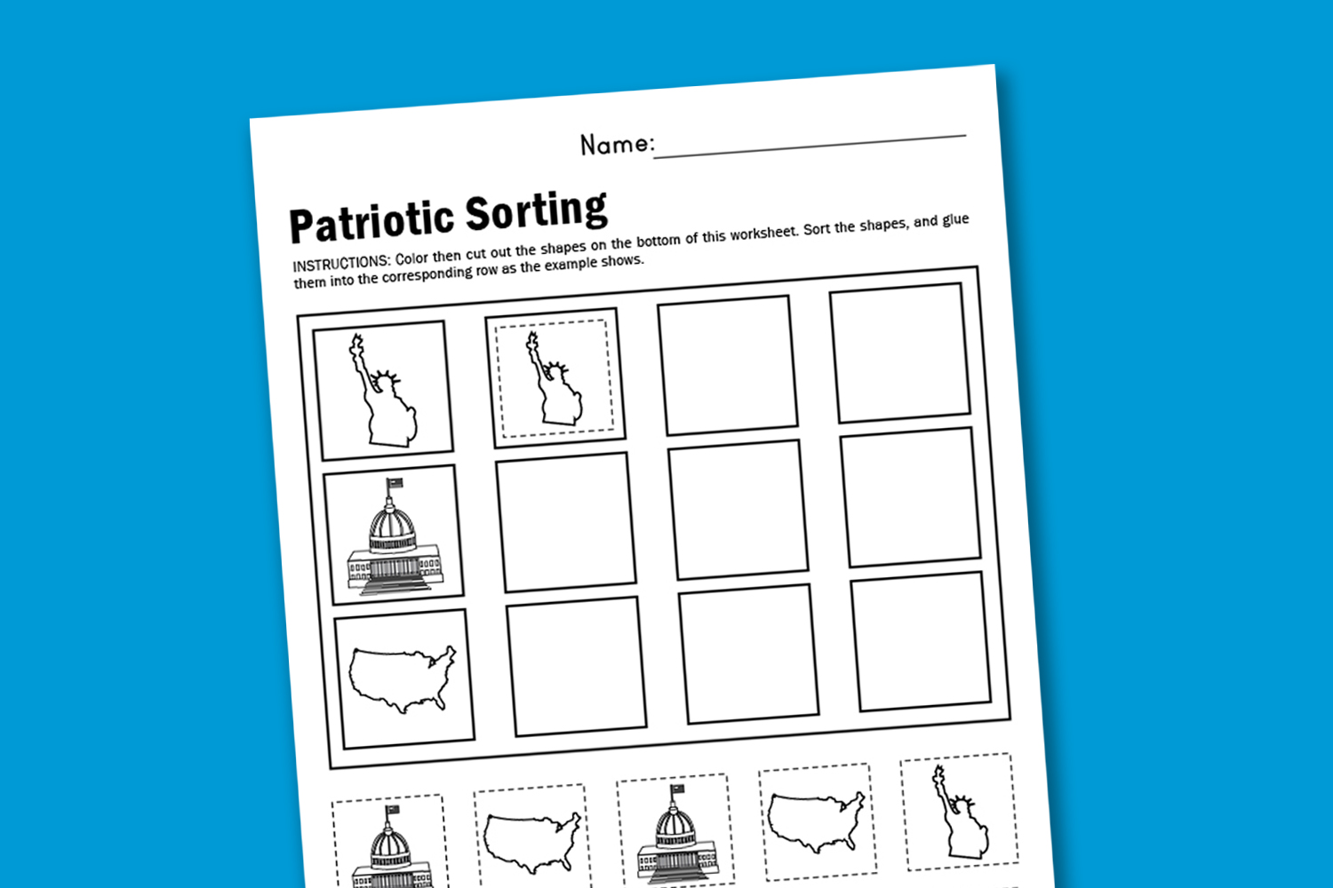 Worksheet Wednesday Patriotic Sorting