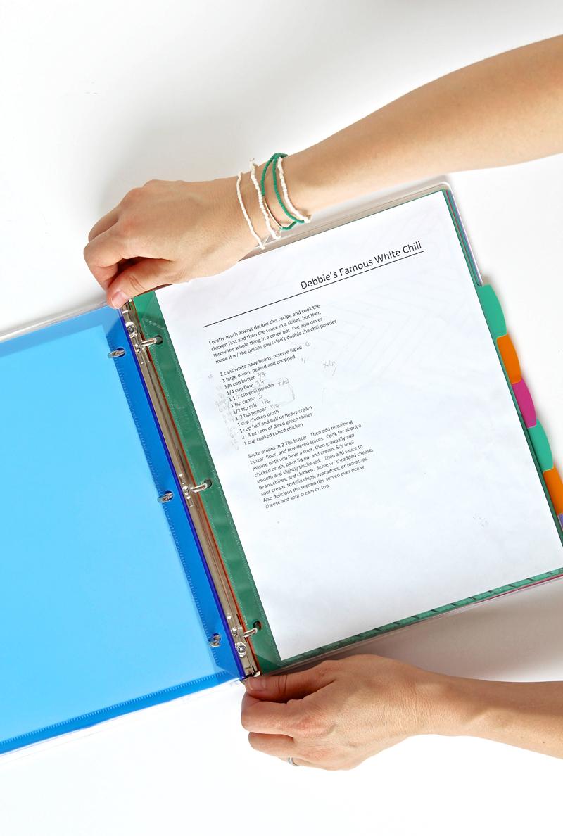Printable Recipe Binder Organizer