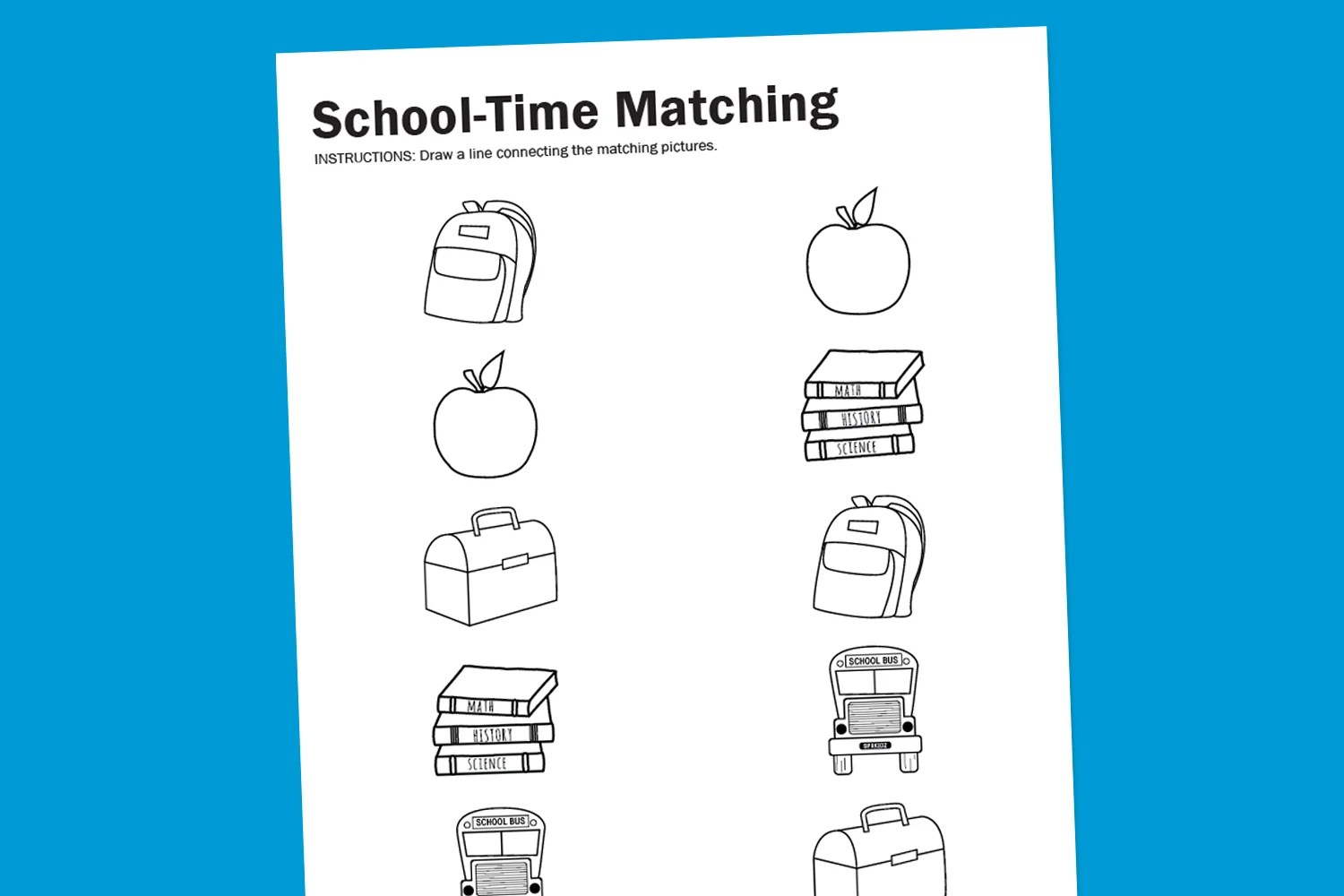 Worksheet Wednesday School Time Matching