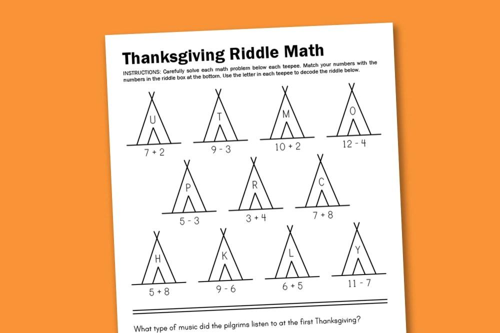 medium resolution of Worksheet Wednesday: Thanksgiving Math Riddle - Paging Supermom