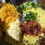 Ingrediente pentru ouă umplute cu bacon, maioneză, brânză cheedar și ceapă verde