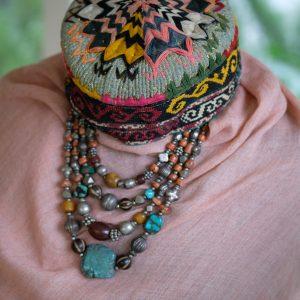 tribal necklace Ladakh, ethnic silver Ladakh