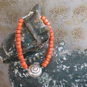 coral with silver bead bracelet