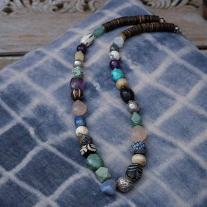 beaded necklace with different kind of gemstones