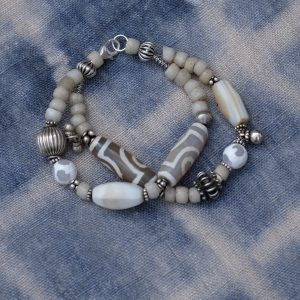 two strand bracelet with agate dzi agate old Venetian glass beads and silver from India