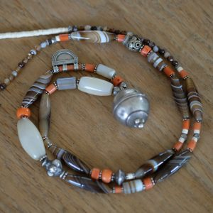 necklace with agate, old coral and silver old Afghan beads