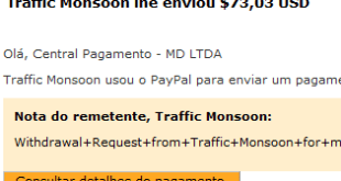 54º Pagamento Traffic Monsoon $73 14 Outubro