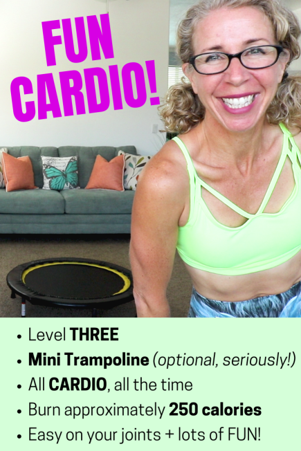 FUN 25 Minute Mini Trampoline CARDIO Party FREE Home Workout on YouTube from Pahla B Fitness
