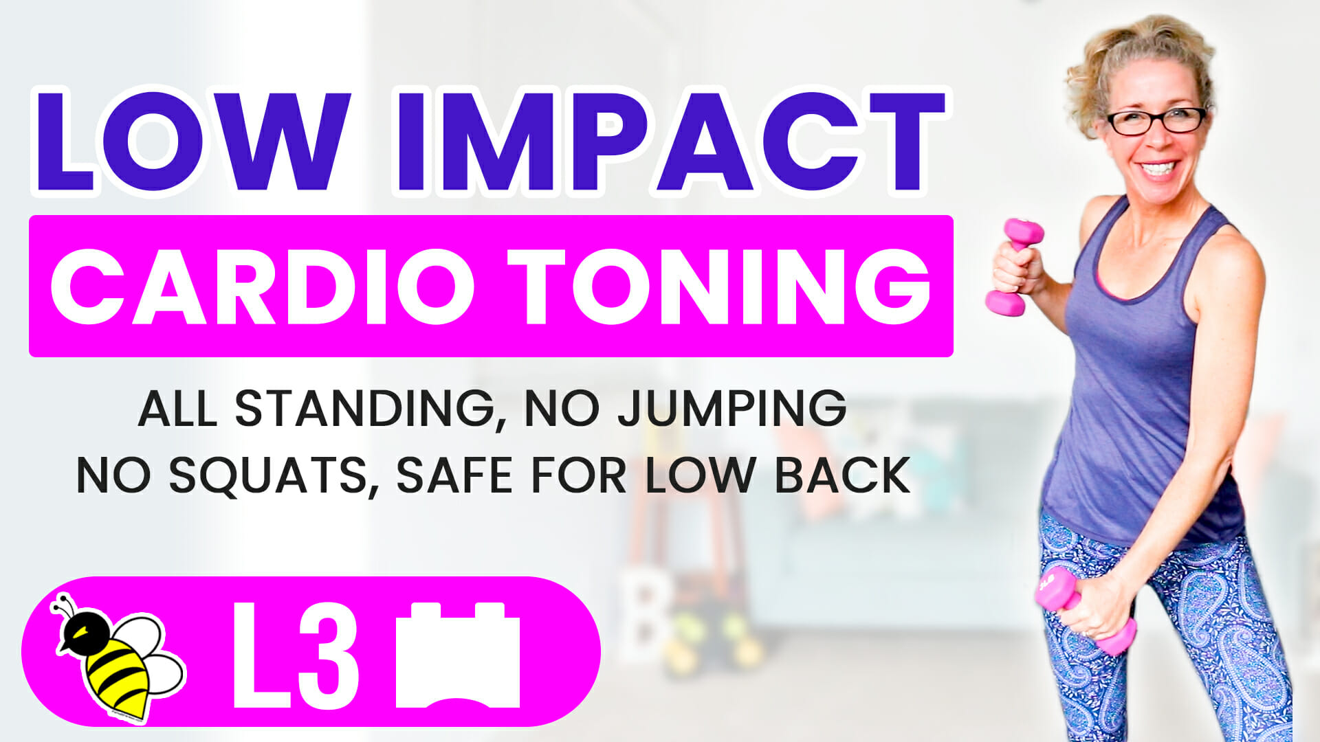 Low Impact CARDIO TONING Tabata 10 minute ALL standing, NO jumping, NO squatting workout