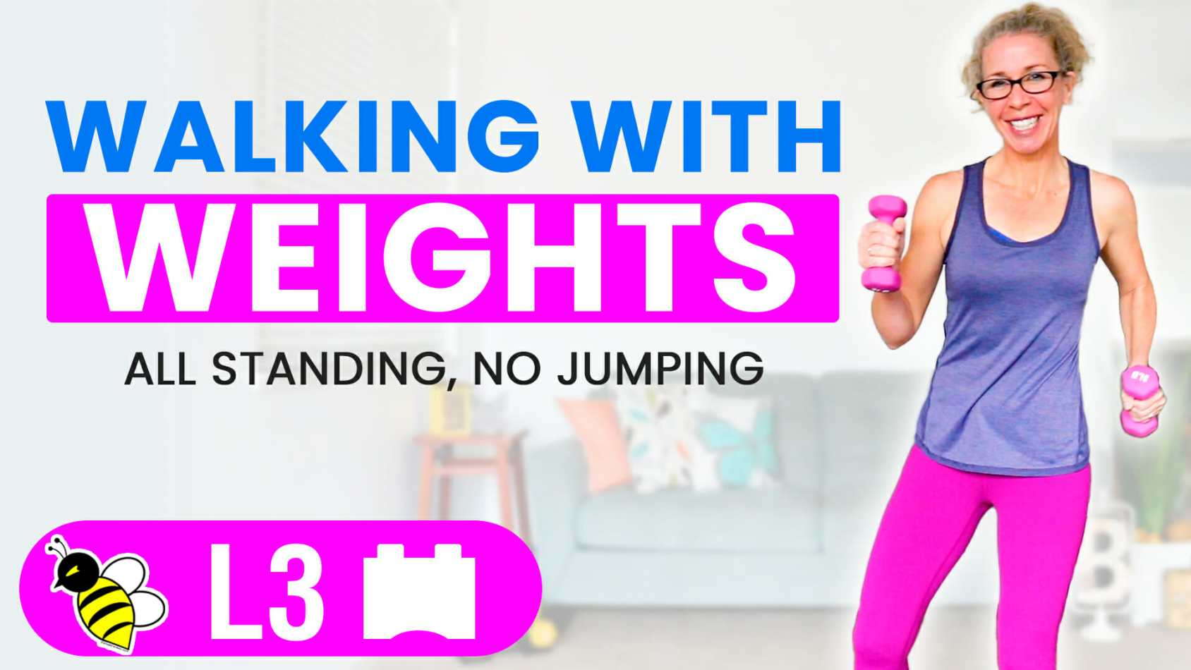 Low Impact WALKING with WEIGHTS 10 minute stackable CARDIO TONING workout with light dumbbells